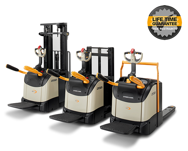 ET and DT stackers and WT platform pallet trucks feature a lifetime guarantee on side restraints